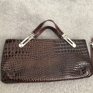 New Due Fratelli brown croc patent leather bag Cdn